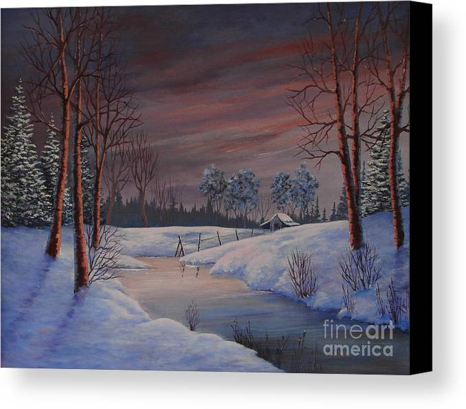 Landscape Canvas Print featuring the painting Winter Evening by Jerry Walker