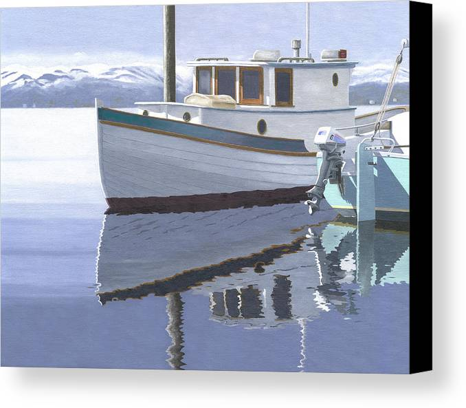 Marine Canvas Print featuring the painting Winter Moorage by Gary Giacomelli