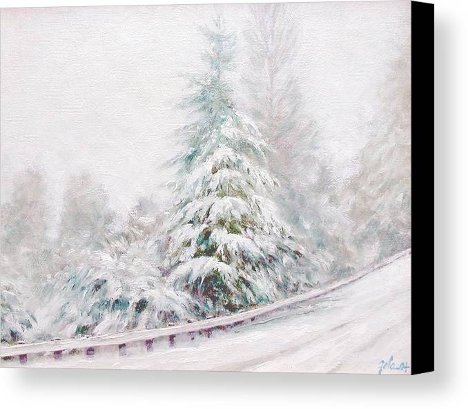 Winter Landscape Canvas Print featuring the painting Winter Of 04 by Jim Gola