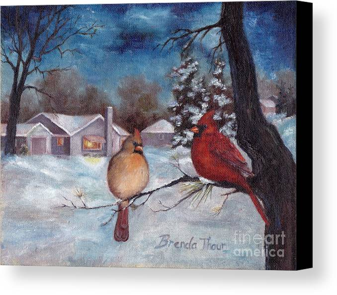 Cardinals Canvas Print featuring the painting Winters Serenity by Brenda Thour