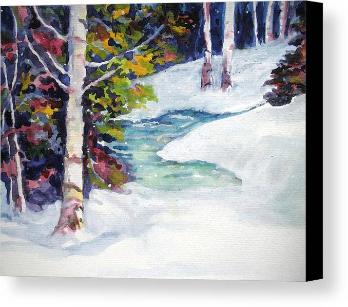 Winter Canvas Print featuring the painting Winter's Solace by Mary Sonya Conti