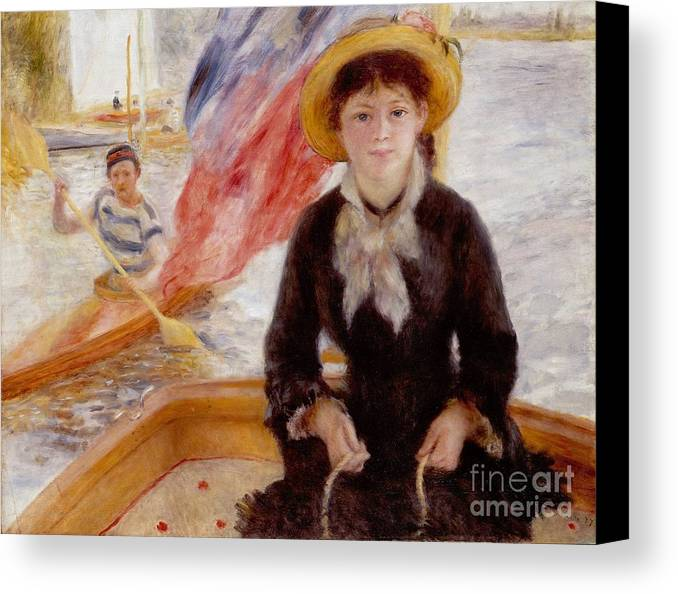 Woman Canvas Print featuring the painting Woman In Boat With Canoeist by Renoir