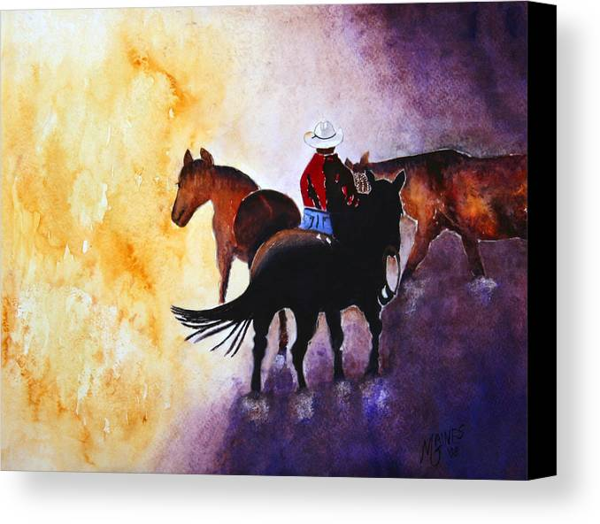 Rancher Canvas Print featuring the painting Wranglers Work Day by Mary Gaines