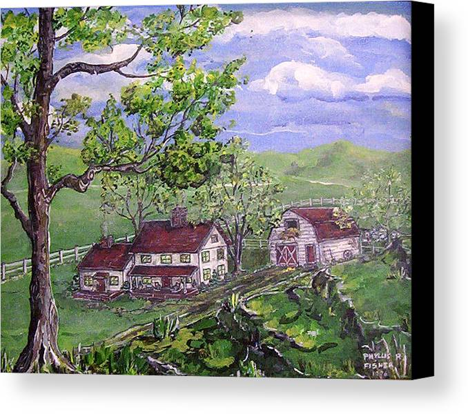 Landscape Canvas Print featuring the painting Wyoming Homestead by Phyllis Mae Richardson Fisher