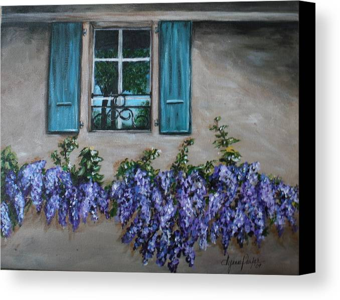 Floral Canvas Print featuring the painting Wysteria View by Dyanne Parker