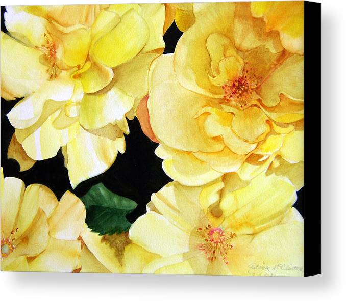 Floral Roses Canvas Print featuring the painting Yellow Roses by Patrick McClintock
