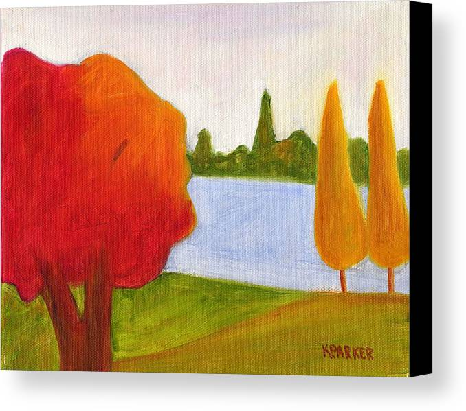 Landscape Canvas Print featuring the painting Yellow Trees by Kelly Parker