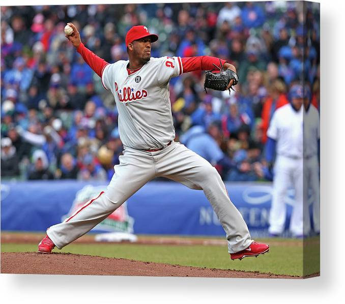 Ball Canvas Print featuring the photograph Philadelphia Phillies V Chicago Cubs by Jonathan Daniel