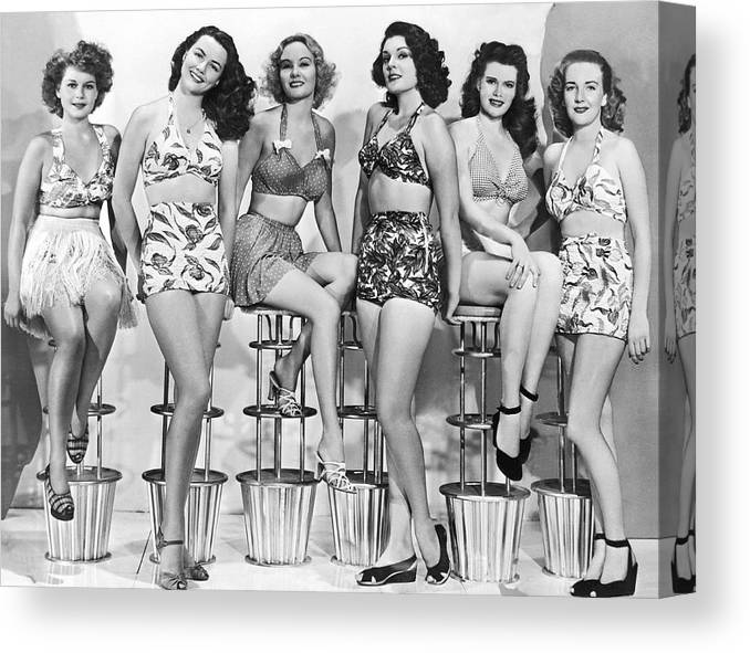 5e27ca92be 1950s Bathing Suits Canvas Print   Canvas Art by Underwood Archives