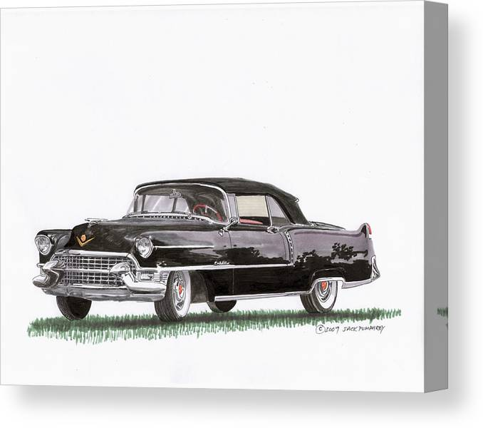 Classic Car Paintings Canvas Print featuring the painting 1955 Cadillac Series 62 Convertible by Jack Pumphrey