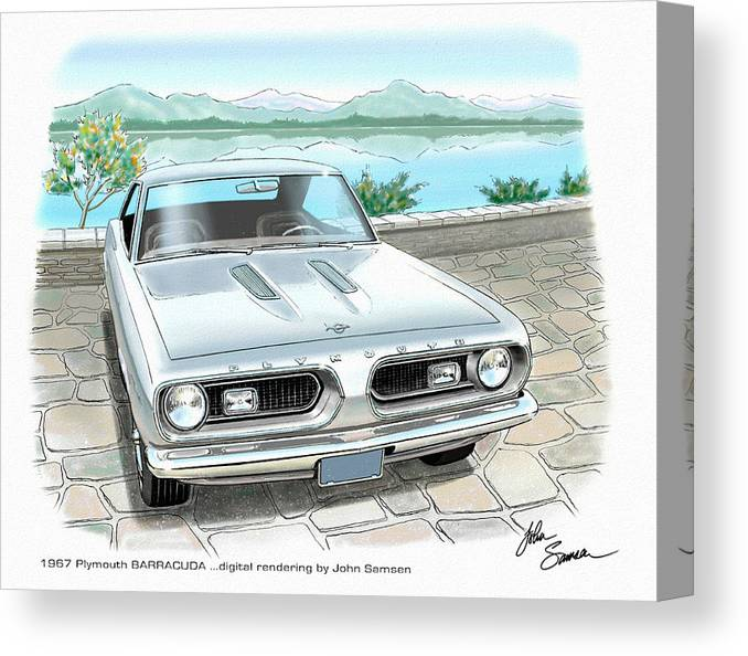 1967 Barracuda Classic Plymouth Muscle Car Sketch Rendering Canvas