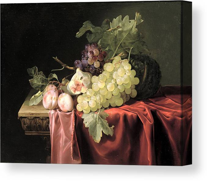 Fruit Canvas Print featuring the photograph A Still Life With Grapes, Plums, Figs And A Melon On A Partly Draped Stone Ledge, 1653 Oil On Canvas by Willem van Aelst