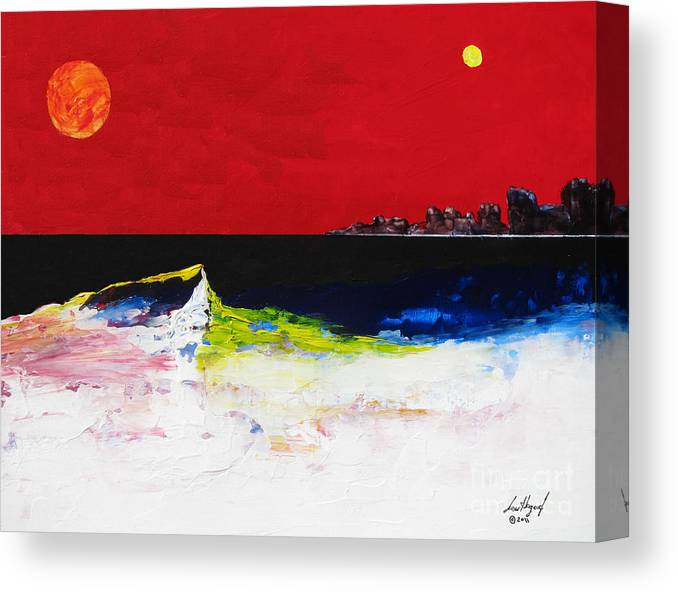 Acrylic Canvas Print featuring the painting Beach With Sun And Moon by Lew Hagood