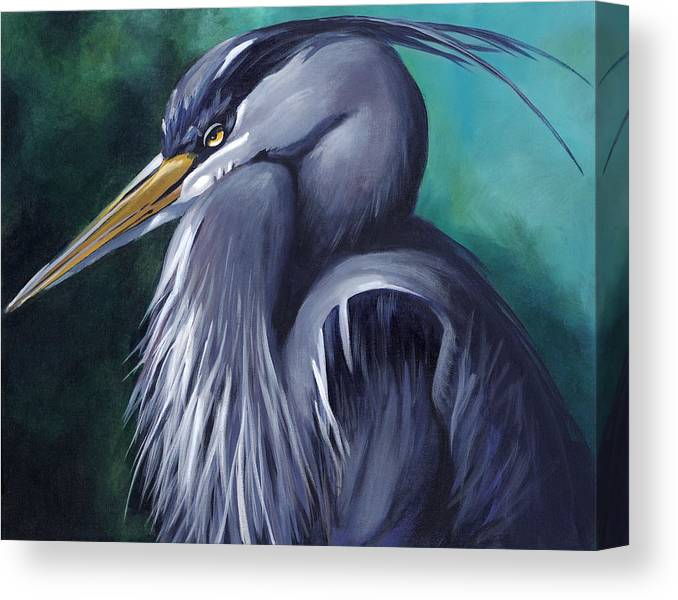 Egret Canvas Print featuring the painting Big Blue by Jeanette Schuerr