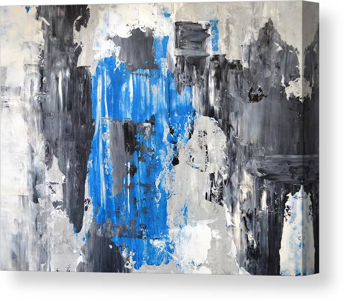 It S Done Blue And Grey Abstract Art Painting Canvas Print