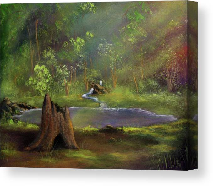 Stump Canvas Print featuring the painting Brightening by Dawn Blair