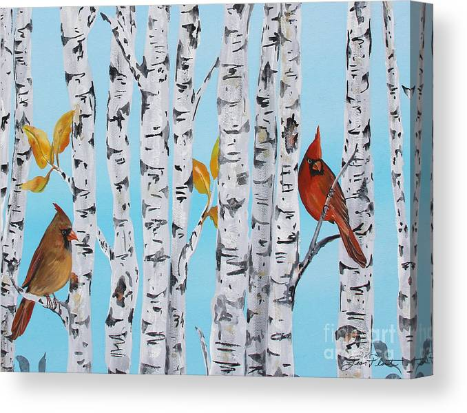 Acrylic Canvas Print featuring the painting Cardinals Among The Birch-e by Jean Plout