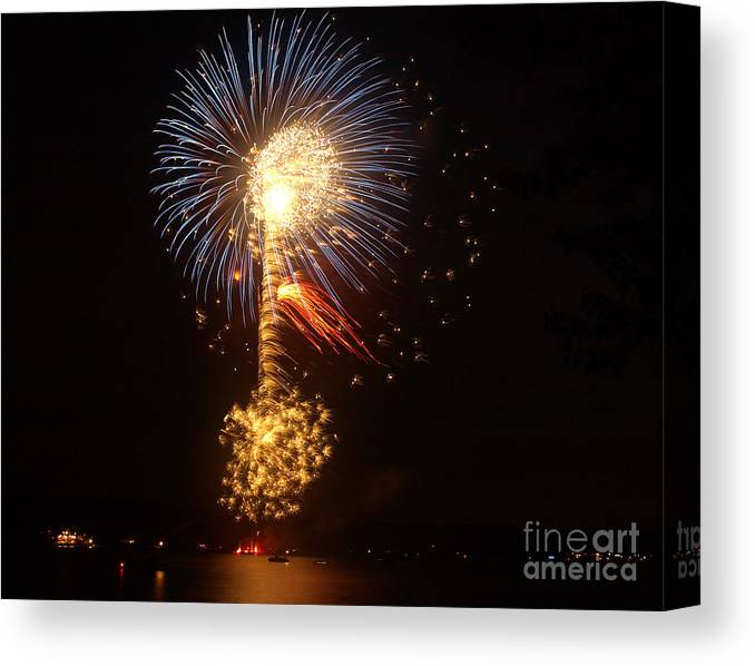 Fireworks Canvas Print featuring the photograph Celebrating The 4th At The Lake 2 by Raymond Earley