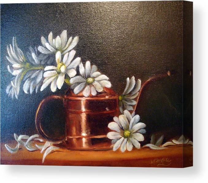 Daisies Canvas Print featuring the painting Daisies by Sharron White