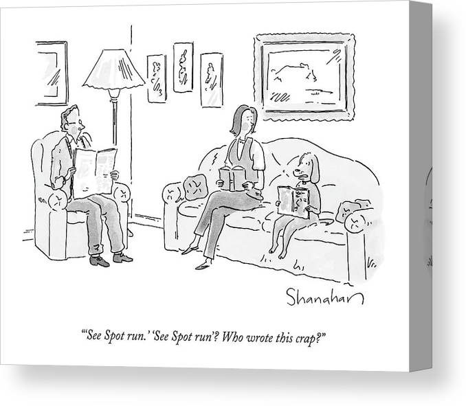 Pets Canvas Print featuring the drawing Dog Sitting On Couch Reading A Book by Danny Shanahan