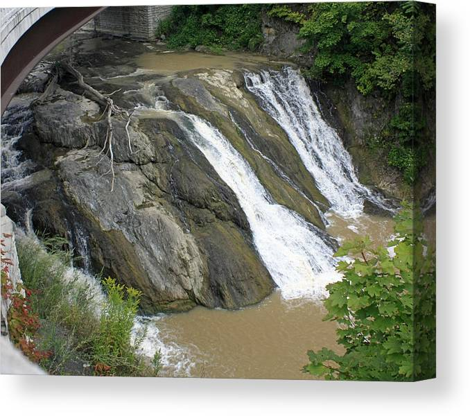 Water Falls Canvas Print featuring the photograph Falls On The Coeyman Creek by James Connor