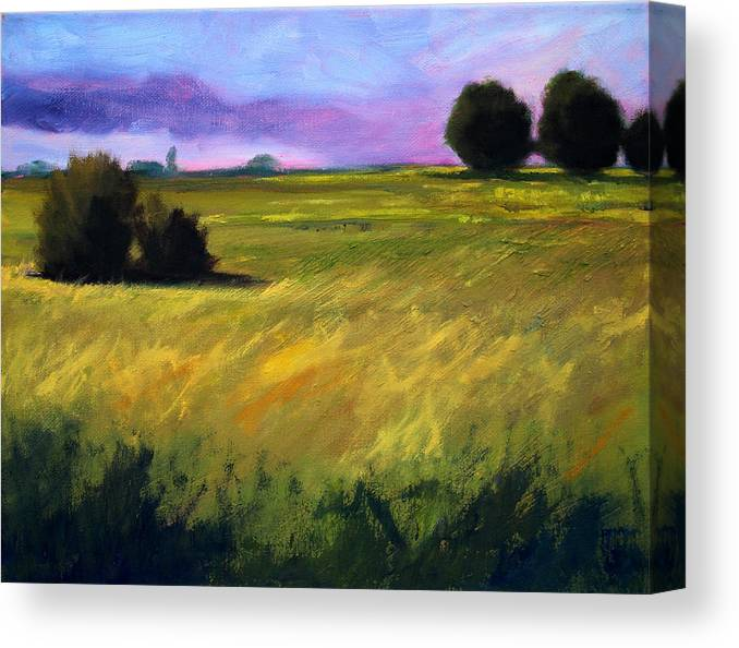 Oregon Canvas Print featuring the painting Field Textures by Nancy Merkle