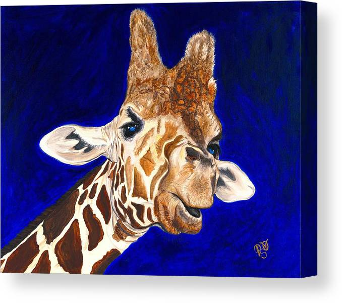 Giraffe Canvas Print featuring the painting Giraffe by Patty Vicknair