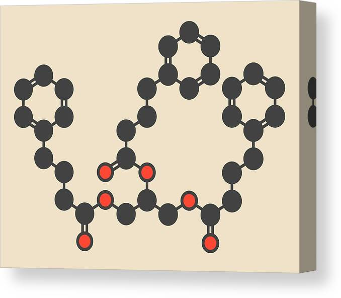 Glycerol Canvas Print featuring the photograph Glycerol Phenylbutyrate Drug Molecule by Molekuul