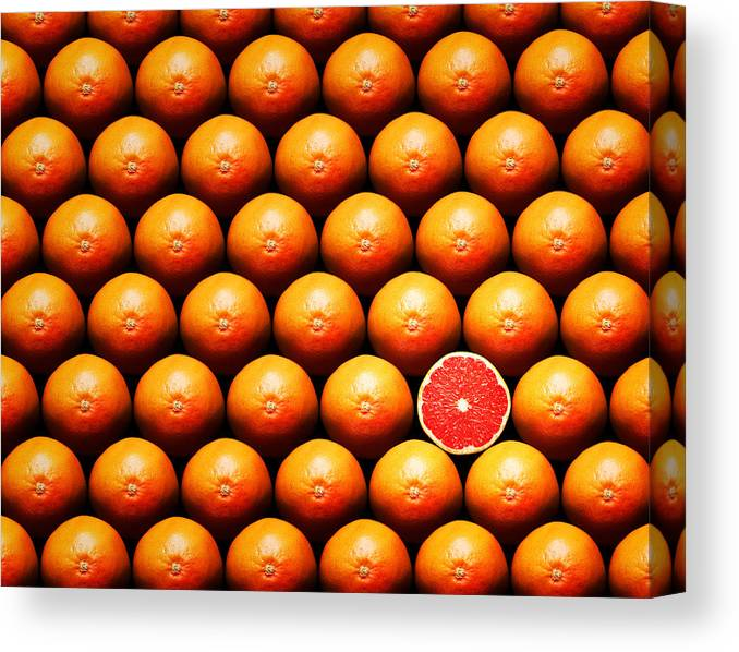 Grapefruit Canvas Print featuring the photograph Grapefruit Slice Between Group by Johan Swanepoel
