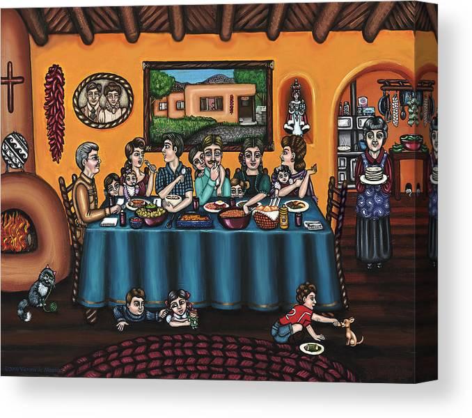Hispanic Art Canvas Print featuring the painting La Familia Or The Family by Victoria De Almeida