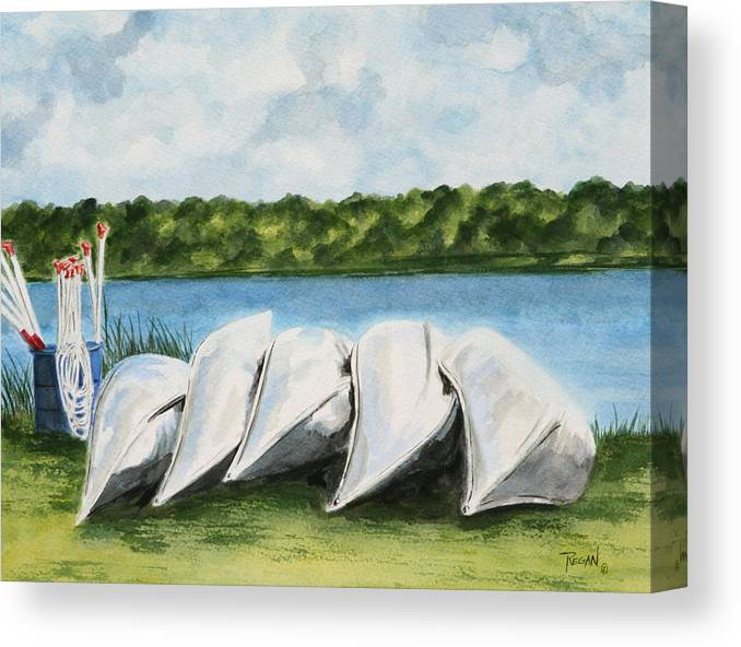 Canoes Canvas Print featuring the painting Lazy River by Regan J Smith