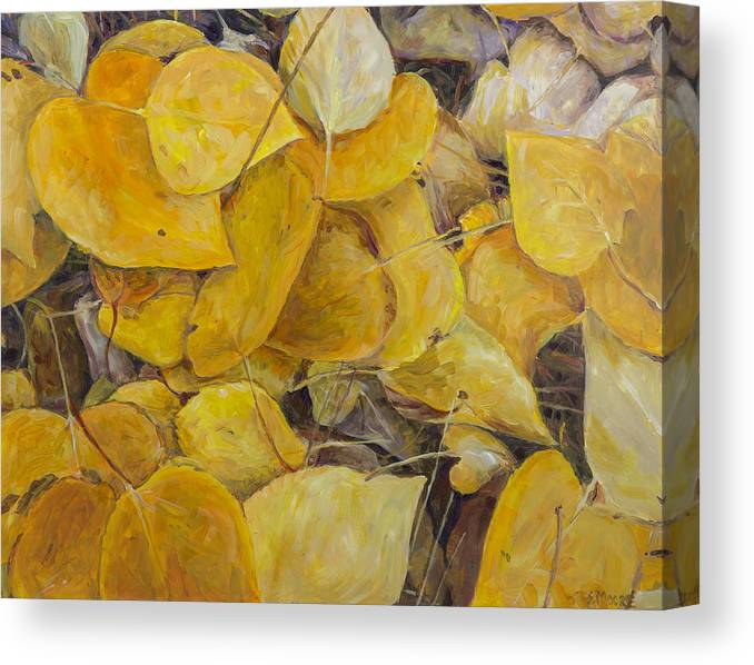 Leaves Canvas Print featuring the painting Leaves Alone by Susan Moore