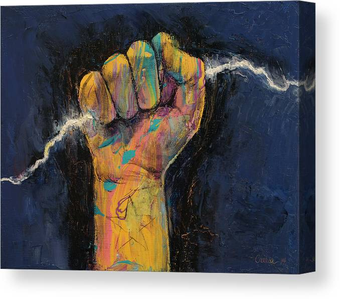 Energy Canvas Print featuring the painting Lightning by Michael Creese