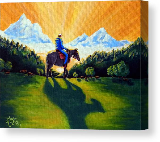 Horse Canvas Print featuring the painting Morning Rounds by Monique Morin Matson