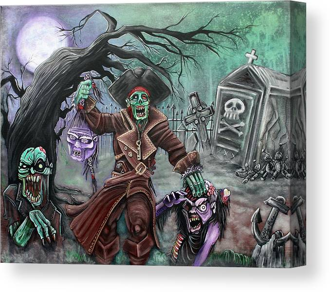 Pirate Canvas Print featuring the painting Pirate's Graveyard 2 by Laura Barbosa