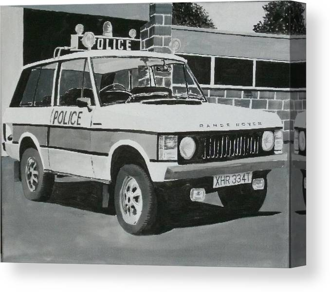 Police Canvas Print featuring the painting Range Rover Cop Car by Sid Fox