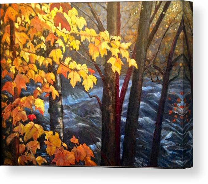 Trees Canvas Print featuring the painting Rapids by Brenda Loschiavo