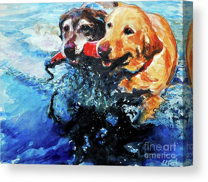 Labrador Retrievers Canvas Print featuring the painting Red Bumper by Molly Poole