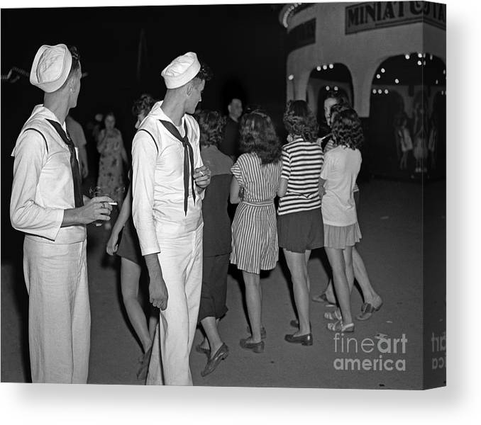 Sailor Canvas Print featuring the photograph Sailors Night Out by Martin Konopacki Restoration