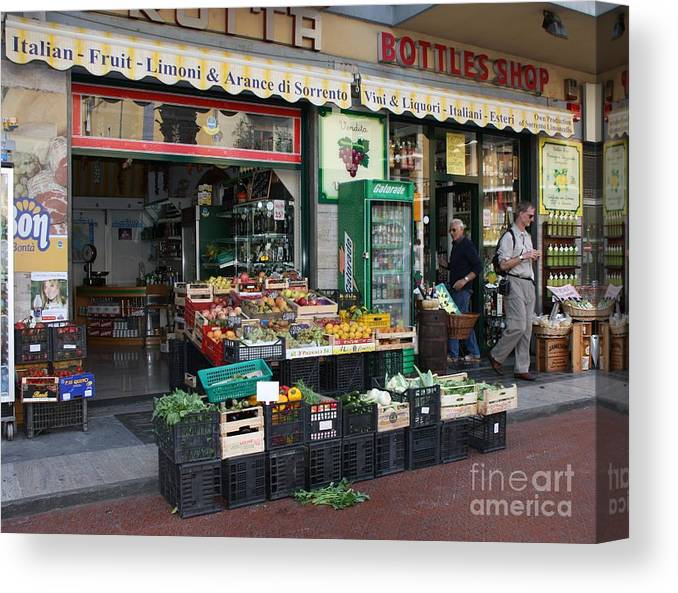 Fruit & Vegetable Street Market Canvas Print featuring the photograph Sorrento Street Market by Mary Ann Teschan