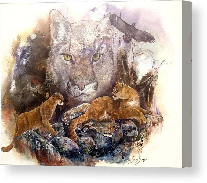 Cougar Canvas Print featuring the painting Spirit Cat by Sherry Shipley