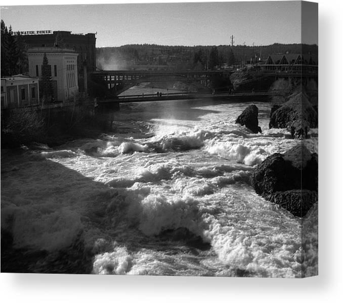 Spokane Falls Canvas Print featuring the photograph Spokane Falls Spring Flow by Paul DeRocker