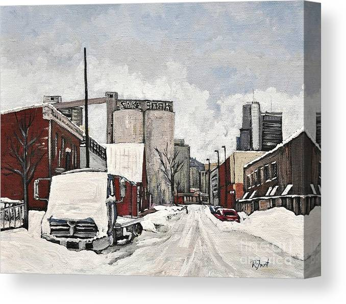 Pointe St. Charles Canvas Print featuring the painting Streets Of Montreal Pointe St. Charles by Reb Frost