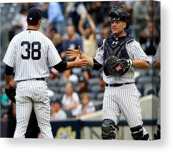 Brian Mccann Canvas Print featuring the photograph Tampa Bay Rays V New York Yankees by Elsa