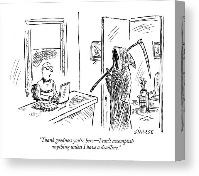 Grim Reaper Writers Death Motivation  (man At Computer Talking To Grim Reaper.) 120214 Dsi David Sipress Canvas Print featuring the drawing Thank Goodness You're Here - I Can't Accomplish by David Sipress