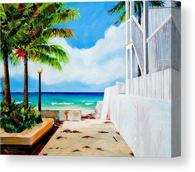 Sailboat Canvas Print featuring the painting Walkway To Cuba by Phyllis London