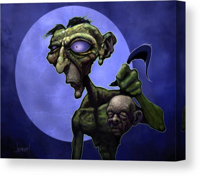 Jephyr Canvas Print featuring the digital art Zombie Head-hunter by Jephyr Art