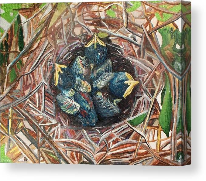 Birds Canvas Print featuring the painting Baby Birds by Rachel Biddlecome