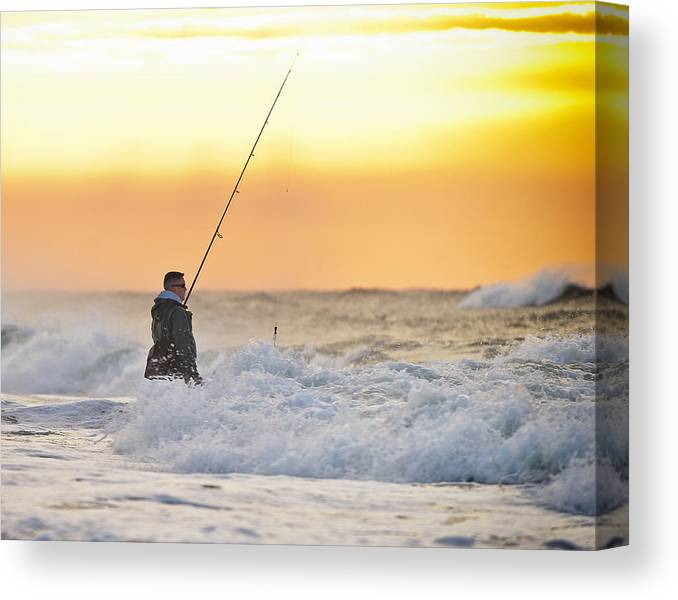 Fisherman Canvas Print featuring the photograph Dawn Fishing by Vicki Jauron