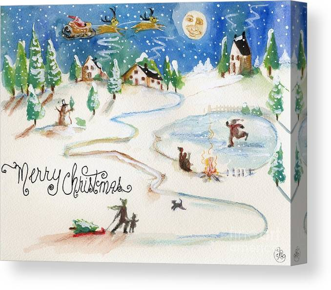 Christmas Canvas Print featuring the painting Merry Christmas Santa by Sylvia Pimental